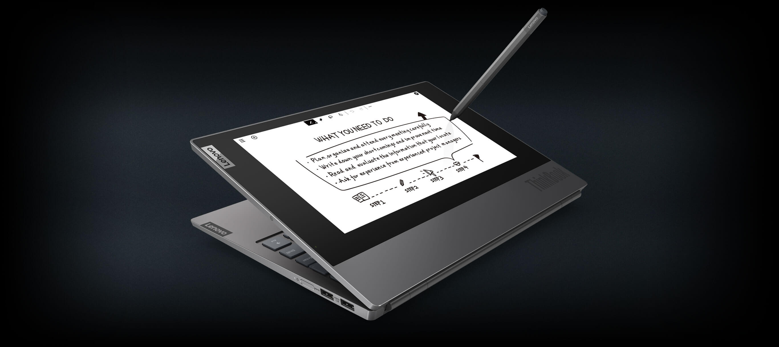 thinkbook plus tablet screen with pen